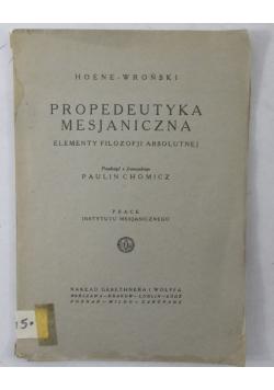 Propedeutyka Mesjaniczna, 1925 r.