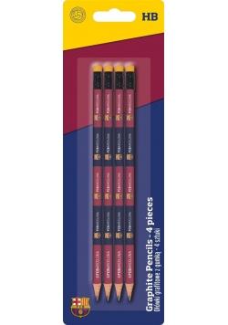 Ołówek trójkątny z gumką HB FCB 4szt ASTRA