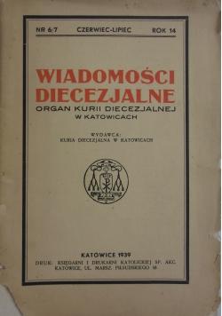 Wiadomości diecezjalne Kurii Diecezjalnej w Katowicach nr 6/7, 1939r.