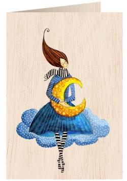 Karnet drewniany C6 + koperta Kobieta na obłoku
