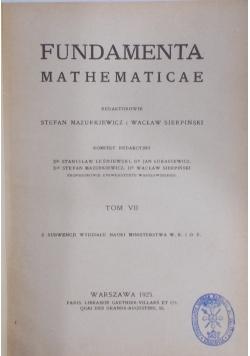 Fundamenta Mathematicae, tom VII, 1925 r