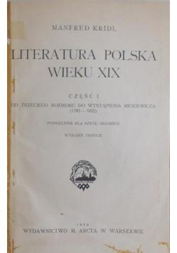 Literatura Polska wieku XIX ,część I, 1929r