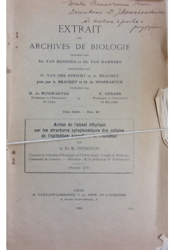 Extrait des archives de biologie, 1932r.