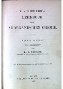 Lehrbuch der anorganischen chemie, 1902 r.