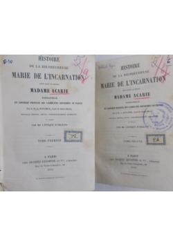 Historie de la bienheureuse Marie de Lincarnation, X,XI. 1854 r.