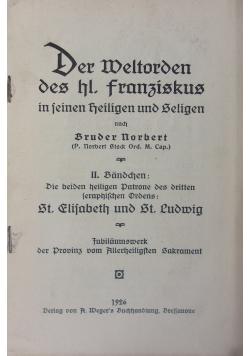 Der Weltorden des hl. franziskus in seinen heiligen und selige, 1926 r.