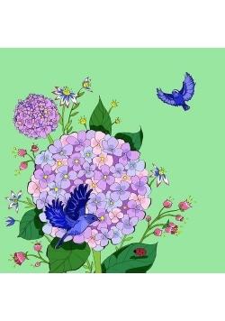 Karnet Swarovski kwadrat CL0603 Kwiaty jas. zieleń