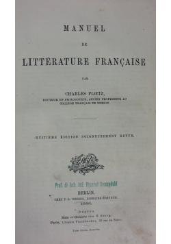 Literature Francaise,1886r.