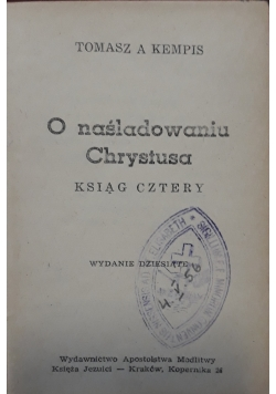 O naśladowaniu Chrystusa, 1938 r.