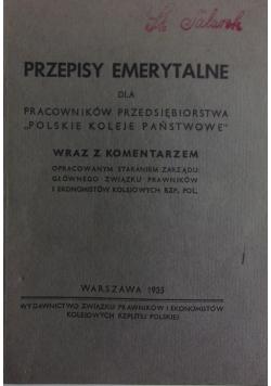Przepisy Emeryrtalne ,1935r.