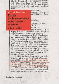 Kronika życia muzycznego w Warszawie w latach 1831-1835
