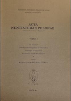 Acta Nuntlaturae Polonae tomus I