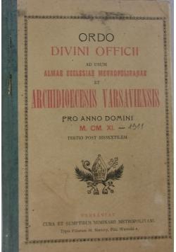 Ordo divini officii ad usum almae ecclesiae metropolitanae et Archidioecesis varsaviensis, 1909r.