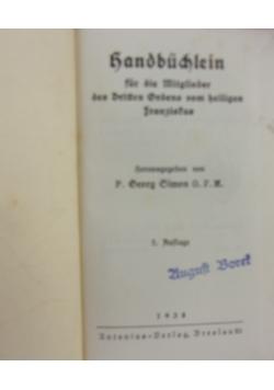 Handbudlein fur die Mitglieder des Dritten Ordens vom heiligen Franziskus, 1938 r.