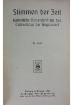 Stimmen der Zeit, 96. Band, 1919r.