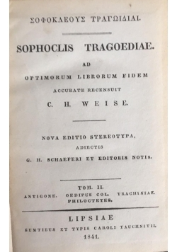 Sophoclis tragoediae, 1841 r.