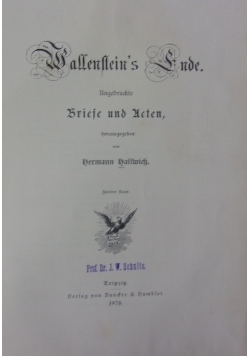 Wallenstein's Ende, 1879 r.