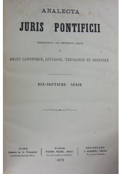 Analecta Juris Pontificii, 1878 r.