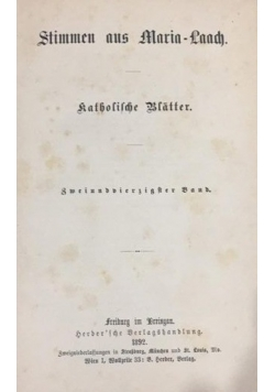 Stimmen aus Maria-Laach, 1892 r.
