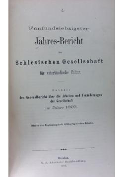 Schlesischen gesellschaft für vaterländische cultur 1897r.