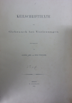Keilschrifttexte ,1890r.