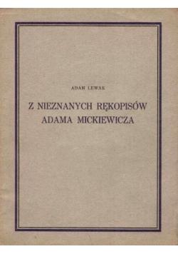 Z nieznanych rękopisów Adama Mickiewicza, 1928 r.