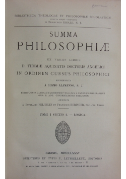 Summa philosophiae, Tom I, 1885r.