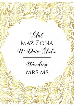 Karnet B6 Ślub - Złoty