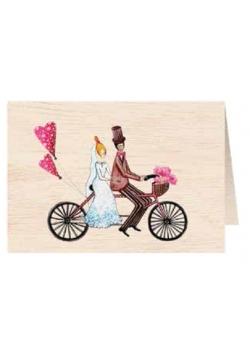 Karnet drewniany C6 + koperta Ślub Para Młoda