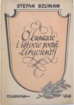 O kunszcie i istocie poezji lirycznej, 1948 r.