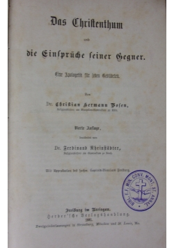 Das Christenthum und die Einspruche seiner Gegner. 1881 r.