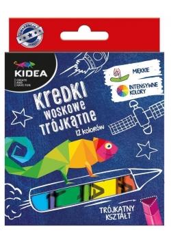 Kredki woskowe trójkątne 12 kolorów KIDEA