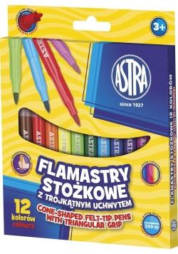 Flamastry stożkowe 12 kolorów ASTRA