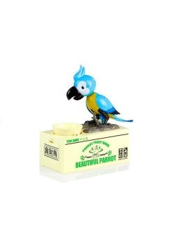 Skarbonka papuga zjada monety niebieska