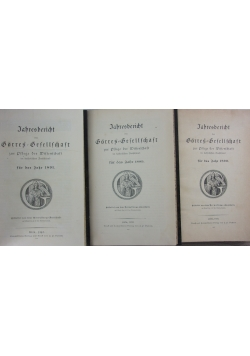 Jahresbericht Borres Gesellschaft 3 tomy, ok. 1890r.