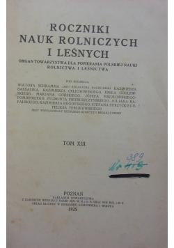 Rocznik nauka rolniczych i leśnych, tom XIII, 1925 r.