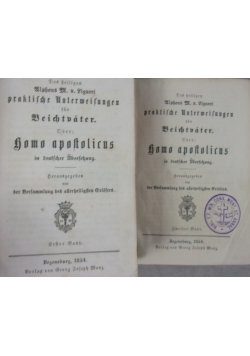Homo apostolicus, Tom 1 i 2, 1854 r.