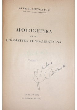 Apologetyka czyli dogmatyka Fundamentalna, 1932 r.