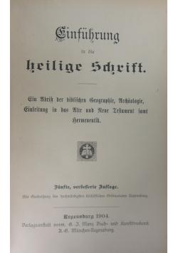 Cinfuhrung in die heilige Schrift,1904r.