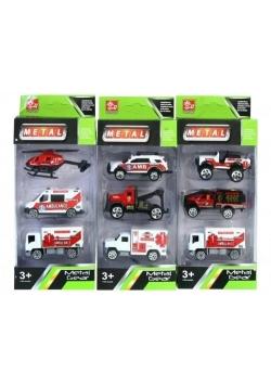 Pojazdy ratownicze metalowe 8cm 3el