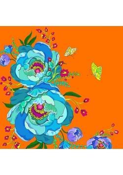 Karnet Swarovski kwadrat CL0611 Kwiaty pomarańcz