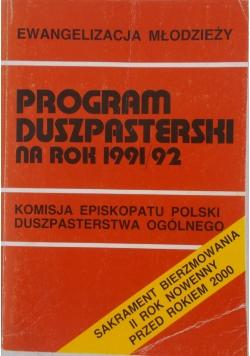 Program duszpasterski na rok 1991/92