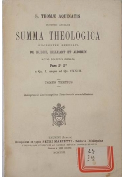 Summa Theologica, 1922 r.
