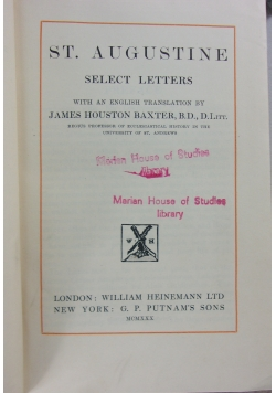 St. Augustine select letters, 1930