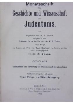 Monatsschrift fur Geschichte und Wissenschaft des Judentumus, 1904r.