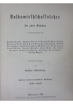 Volkswirthchaftslehre, 1885 r.
