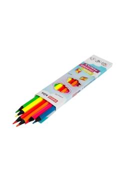 Kredki trójkątne neonowe 6 kolorów EASY