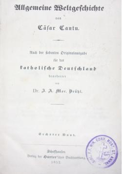Allgemeine Weltgeschichte, 1852 r.