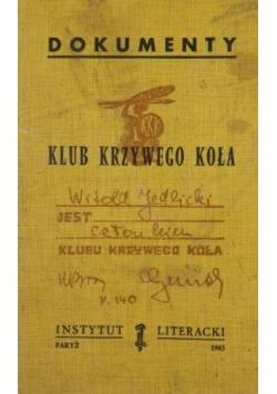 Dokumenty Klub Krzywego Koła, Instytut Literacki Paryż 1963 r.