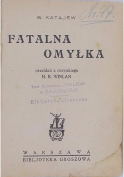 Fatalna omyłka, 1929r.